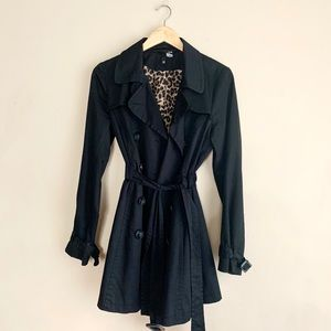 H&M Black Trench Coat with Leopard Lining